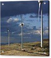 Wind Turbines. Region Auvergne. France Acrylic Print by Bernard Jaubert
