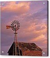 Windmill And Barn Sunset Acrylic Print