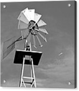 Windmill And Passing Plane Acrylic Print