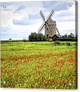 Windmill And Poppy Field In Brittany Acrylic Print