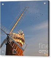 Windmill At Dusk On The Norfolk Broads In Autumn Acrylic Print