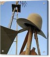 Windmill Canteen And Cowboy Hat 1 Acrylic Print