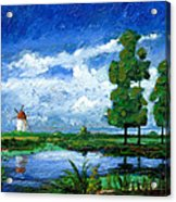 Windmill, Holland, 2006 Oil On Board Acrylic Print