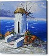 Windmill In Greece Acrylic Print