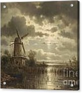 Windmill In The Moonlight Acrylic Print