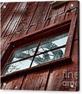Windmill Reflected In Barn Window Acrylic Print