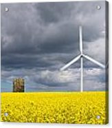 Windmill With Motion Blur In Rapeseed Field Acrylic Print