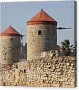 Windmills Of Rhodos - Port Of The Myloi Acrylic Print