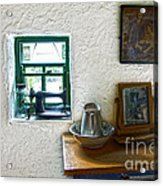 Window And Little Dressing Table In An Old Thatched Cottage Acrylic Print