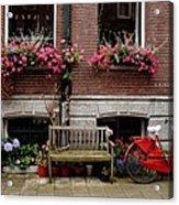 Window Box Bicycle And Bench  -- Amsterdam Acrylic Print