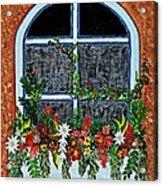 Window Flower Box On A Stucco Wall Acrylic Print