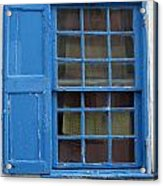 window in blue - British style window in a mediterranean blue Acrylic Print