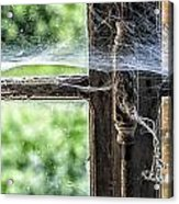 Window Lock And Spider's Web Acrylic Print