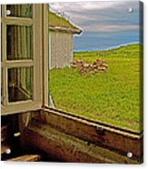 Window On Sod-covered Roof In Louisbourg Living History Museum-1744-ns Acrylic Print