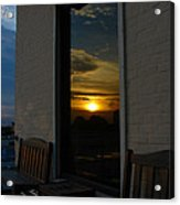 Awesome Sunset Window Reflections Downtown Charleson Sc Acrylic Print by Ella Char