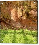 Window Reflections On Grass And Rock Face Acrylic Print