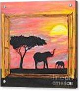 Window To African Sunrise With Elephants Into The Sun. Acrylic Print