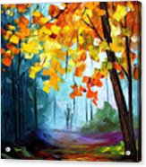 Window To The Fall - Palette Knife Oil Painting On Canvas By Leonid Afremov Acrylic Print