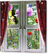 Window View Onto Wild Summer Garden Acrylic Print