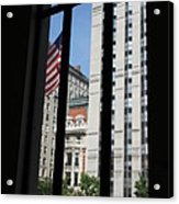 Window View With Flag Acrylic Print