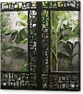 Window With Bamboo And Banana Plant Acrylic Print