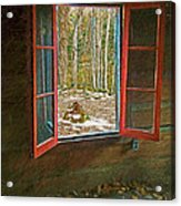 Window With View Abandoned Elkmont Log Cabin Autumn Acrylic Print