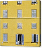 Windows Of Florence Against A Faded Yellow Plaster Wall Acrylic Print