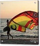 Windsurfer At Sunset Acrylic Print