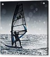 Windsurfing With Water Drops On Camera Acrylic Print
