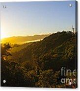 Windturbines At Sunrise Acrylic Print