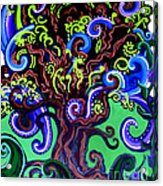 Windy Blue Green Tree Acrylic Print