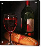 Wine And Baguette Acrylic Print by Timothy Jones
