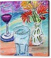 Wine And Flowers 2 Acrylic Print by William Killen