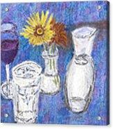 Wine And Flowers Acrylic Print by William Killen