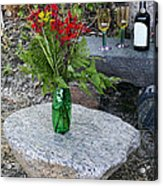 Wine And Red Flowers On The Rocks Acrylic Print