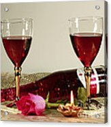 Wine And Rose By Candlelight Acrylic Print by Inspired Nature Photography Fine Art Photography
