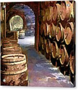 Wine Barrels In The Wine Cellar Acrylic Print by Elaine Plesser