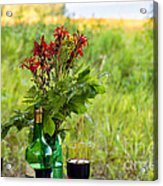 Wine Bottle And Two Glasses Acrylic Print