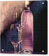 Wine Bottle With Glasses Acrylic Print