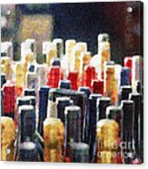 Wine Bottles Painting Acrylic Print by Magomed Magomedagaev