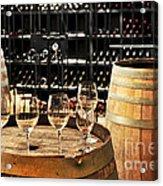 Wine Glasses And Barrels Acrylic Print by Elena Elisseeva