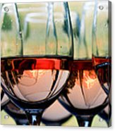 Wine Glasses Filled With Mount Hood Acrylic Print