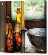 Wine - Nestled In A Corner Of A Window Sill  Acrylic Print by Mike Savad