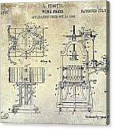 Wine Press Patent 1903 Acrylic Print