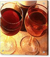Wine Toast In Watercolor Acrylic Print by Elaine Plesser