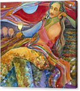 Wine Woman And Song Acrylic Print by Jen Norton