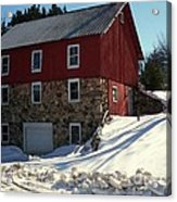 Winery Barn In Winter Acrylic Print by Desiree Paquette