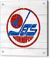 Winnipeg Jets Retro Hockey Team Logo Recycled Manitoba Canada License Plate Art Acrylic Print