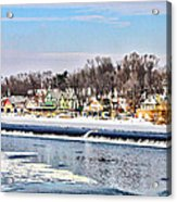 Winter At Boathouse Row In Philadelphia Acrylic Print by Simon Wolter