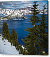 Winter At Crater Lake Acrylic Print